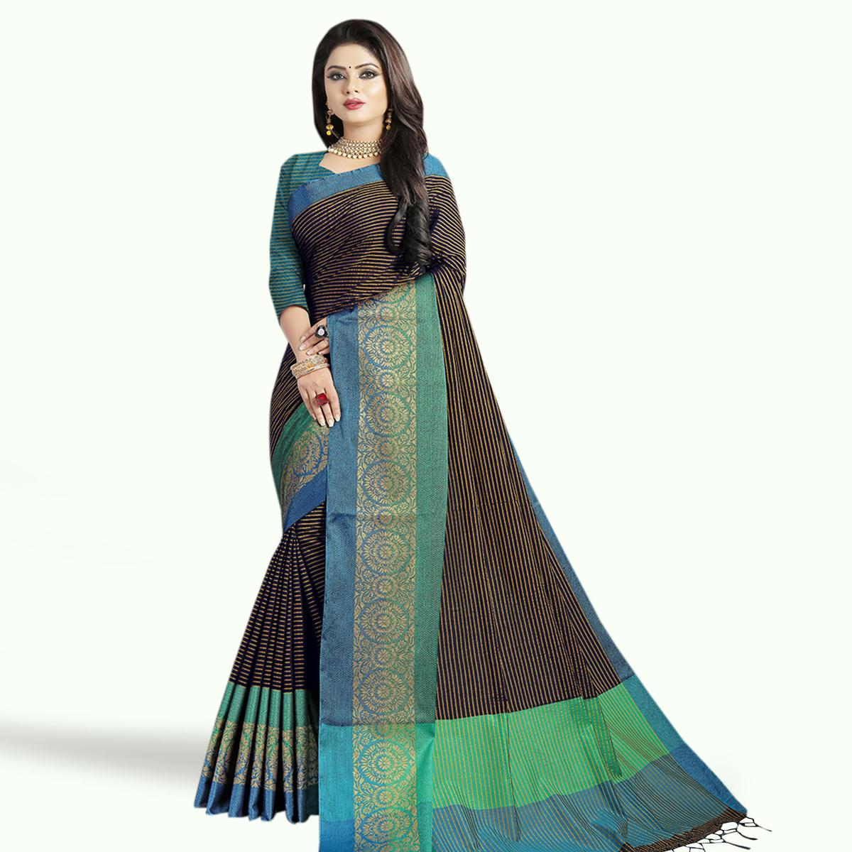Pleasance Black Colored Festive Wear Chanderi Silk Saree