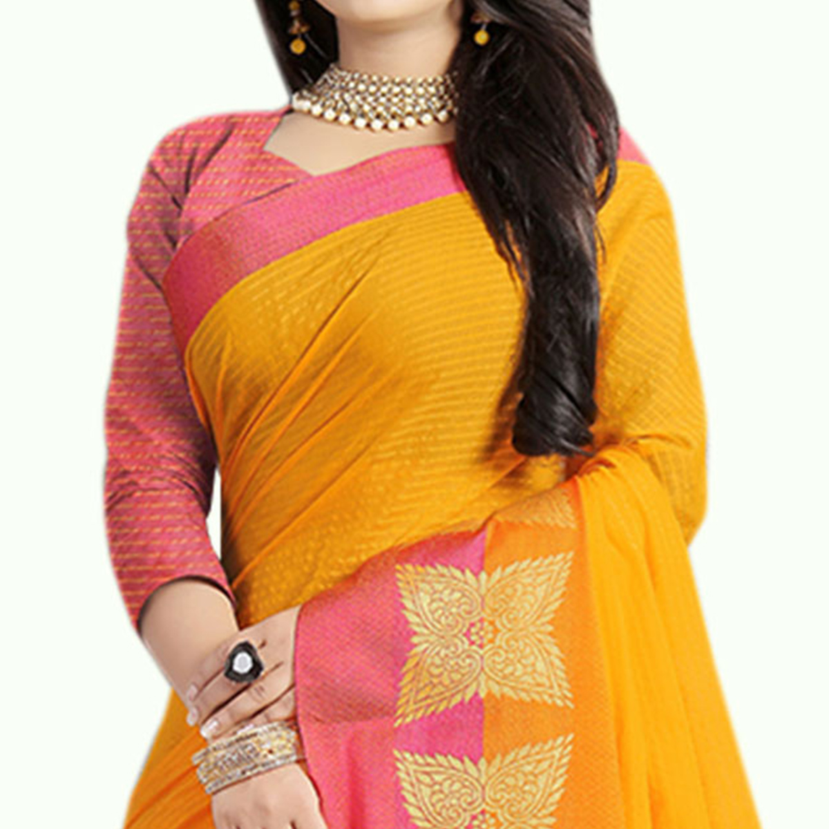 Dazzling Yellow Colored Festive Wear Chanderi Silk Saree