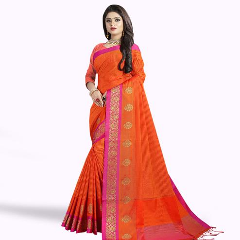 Ethnic Orange Colored Festive Wear Chanderi Silk Saree