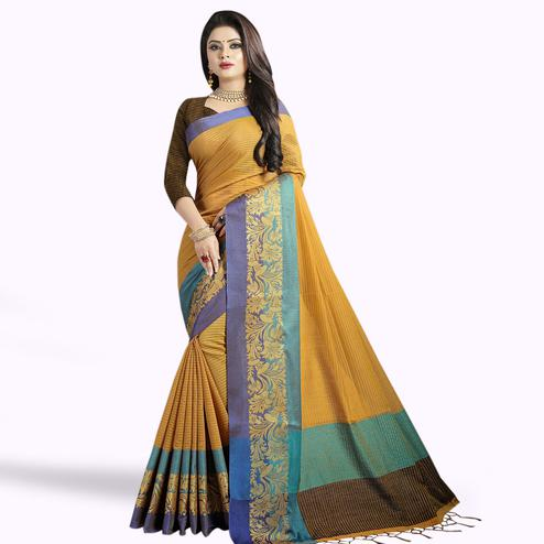 Ravishing Mustard Yellow Colored Festive Wear Chanderi Silk Saree