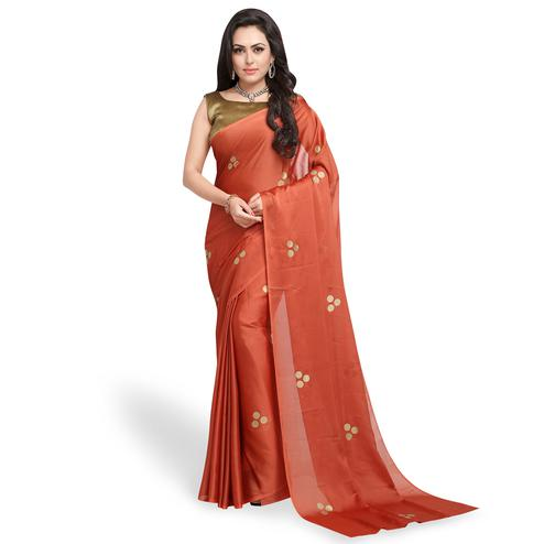 Glorious Rust Orange Colored Party Wear Art Silk Saree