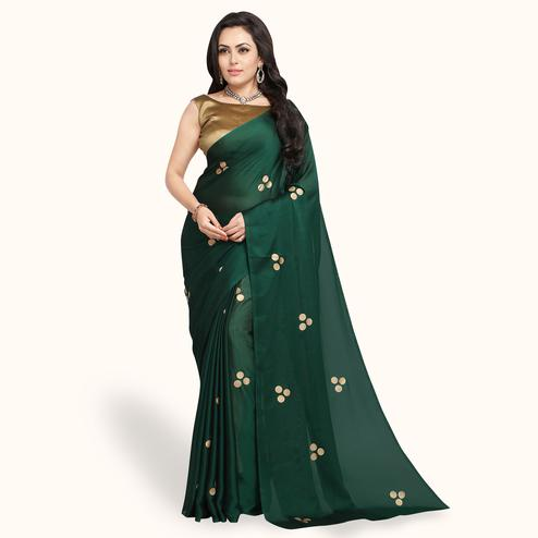Attractive Dark Green Colored Party Wear Art Silk Saree