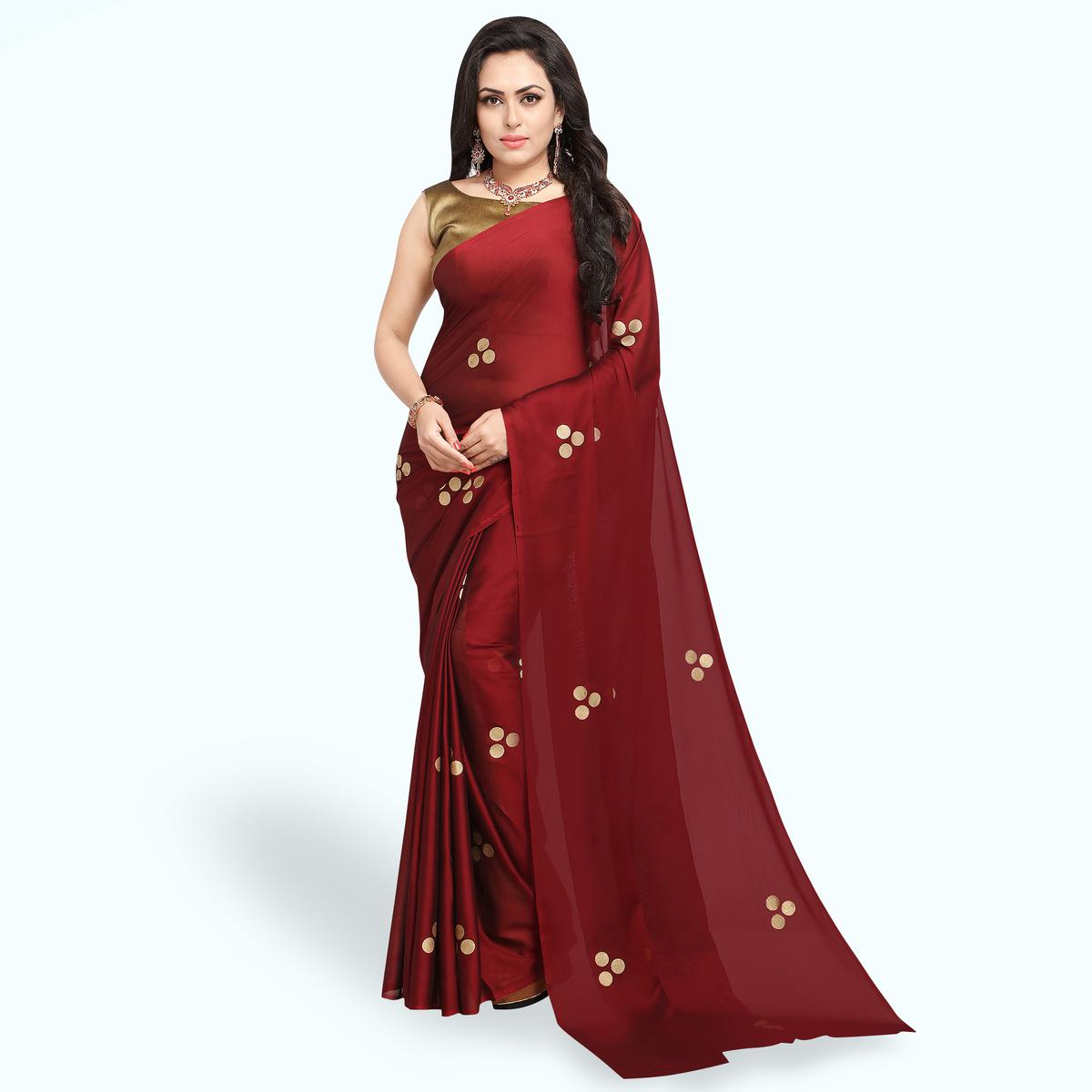 Beautiful Maroon Colored Party Wear Art Silk Saree