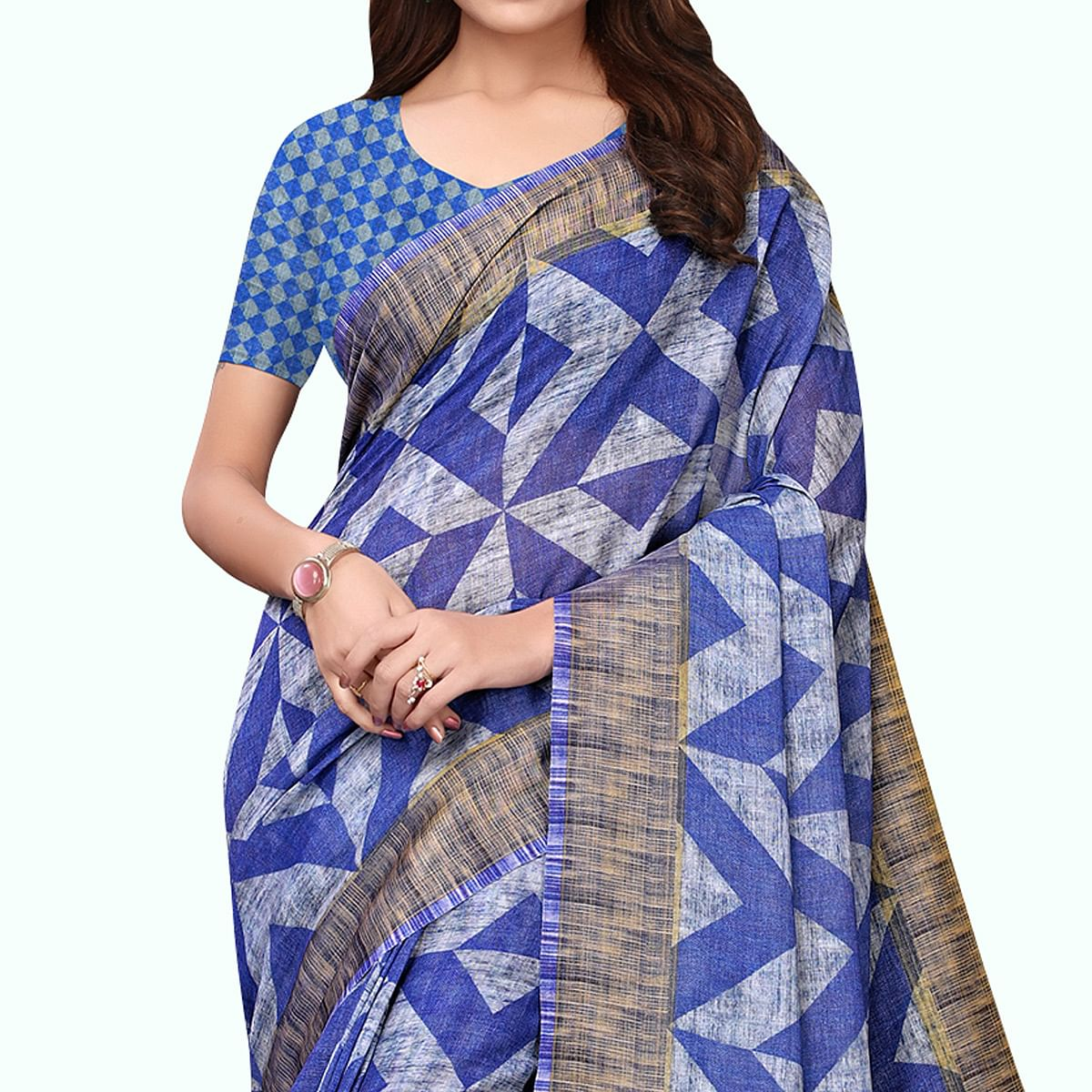 Graceful Blue - Gray Colored Casual Wear Printed Linen Saree