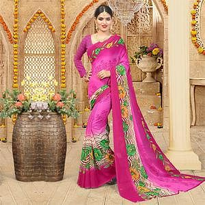Pink Printed Georgette Saree
