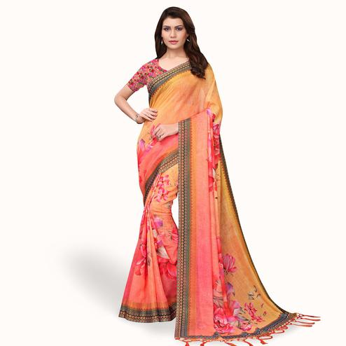 Blooming Orange - Pink Colored Casual Wear Printed Linen Saree