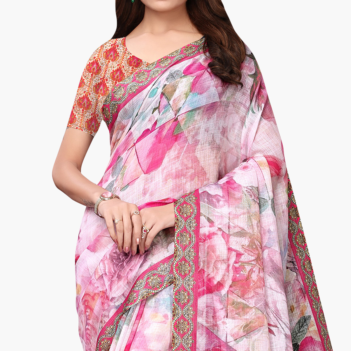 Charming Light Pink Colored Casual Wear Printed Linen Saree