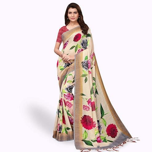 Jazzy Beige Colored Casual Wear Printed Linen Saree