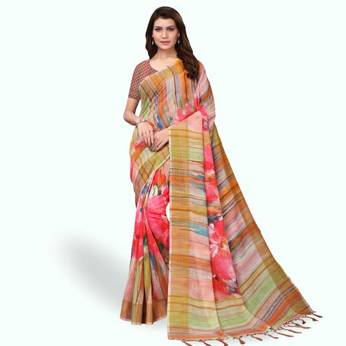 Delightful Multi Colored Casual Wear Printed Linen Saree