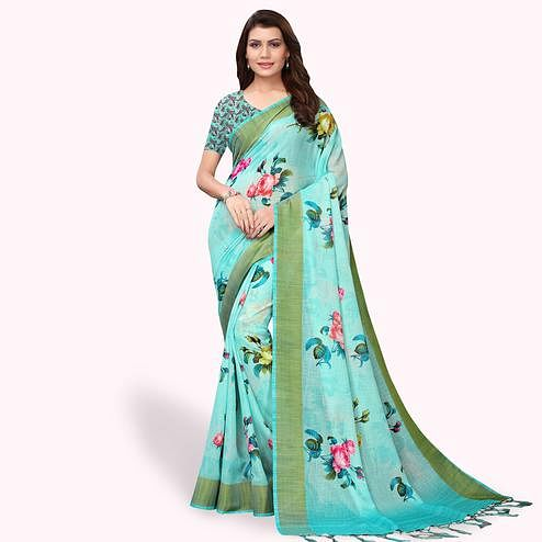 Engrossing Aqua Blue Colored Casual Wear Printed Linen Saree