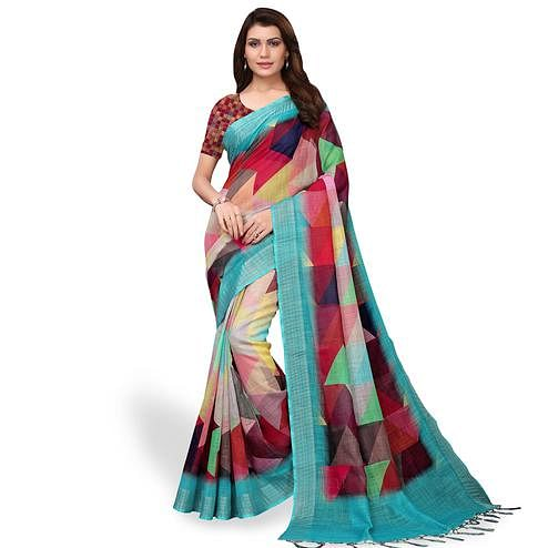 Captivating Multi Colored Casual Wear Printed Linen Saree