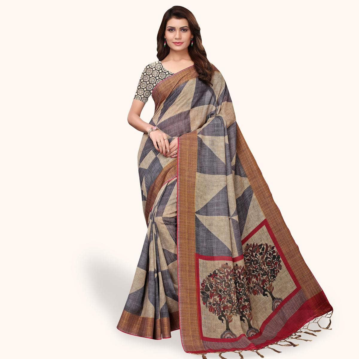 Innovative Gray - Brown Colored Casual Wear Printed Linen Saree