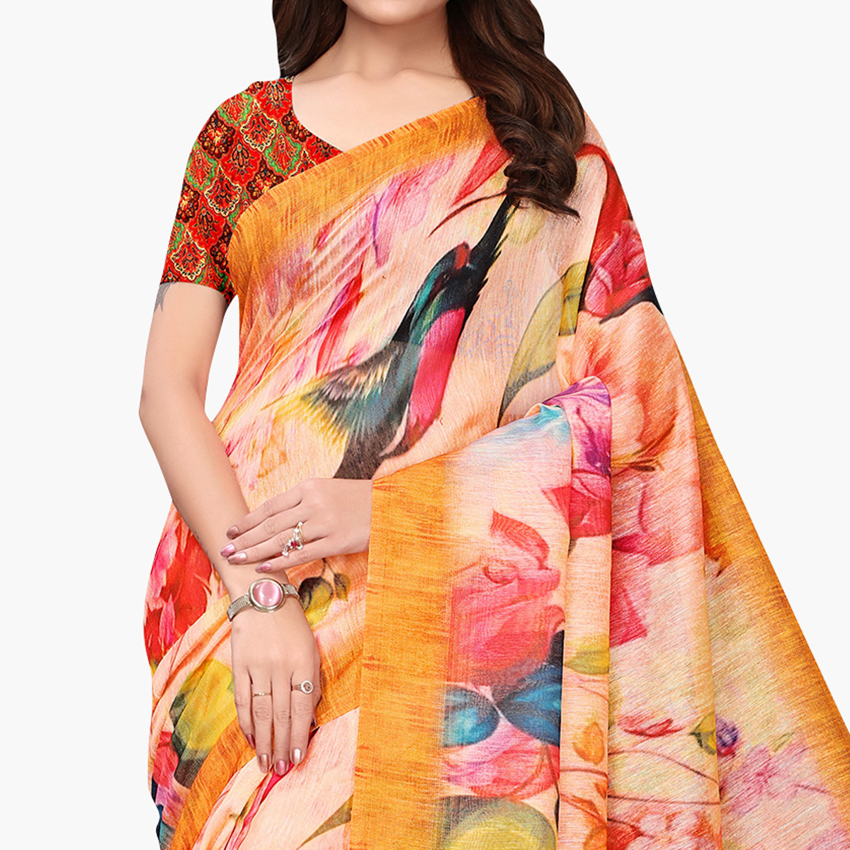 Eye-catching Peach Colored Casual Wear Printed Linen Saree