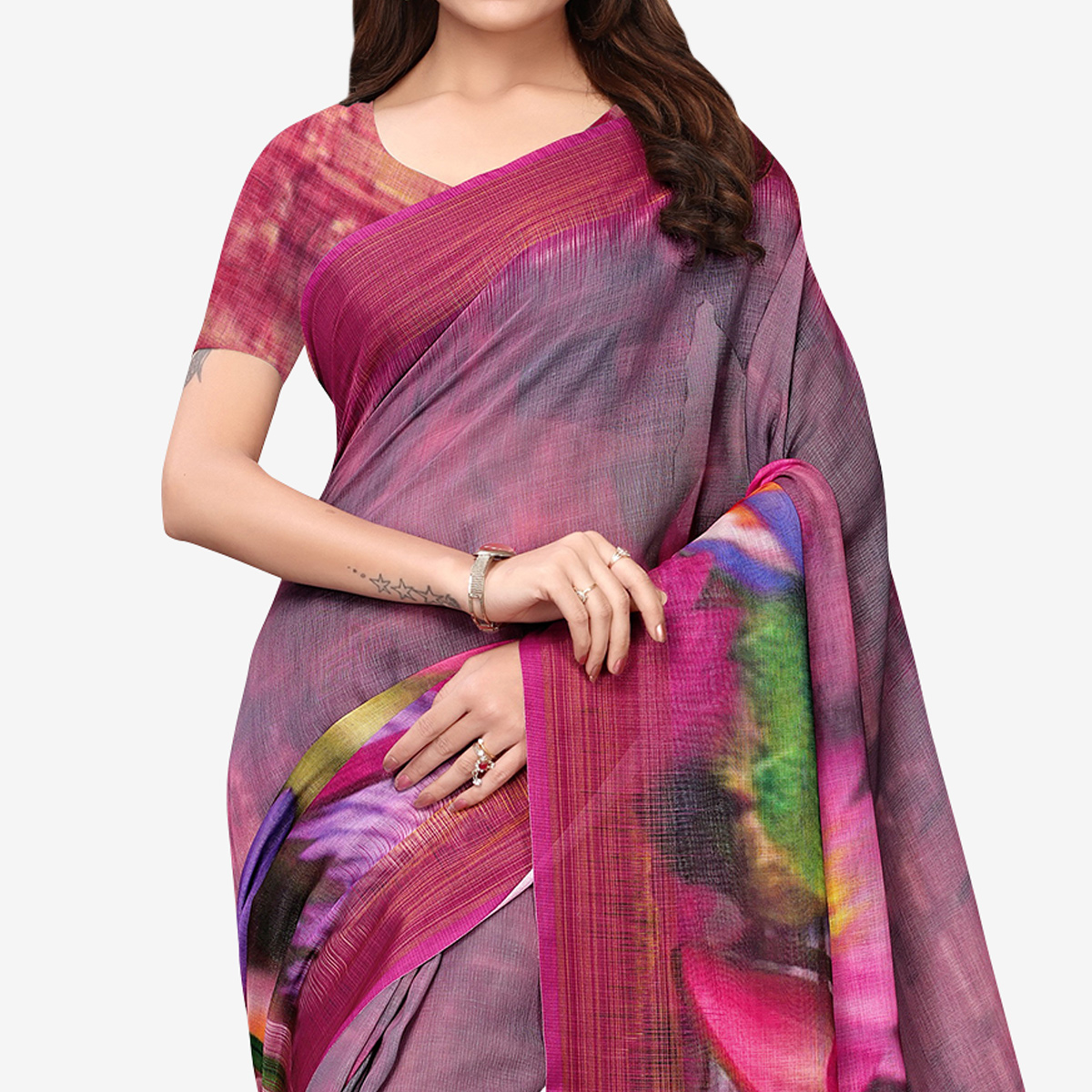 Fantastic Plum Colored Casual Wear Printed Linen Saree