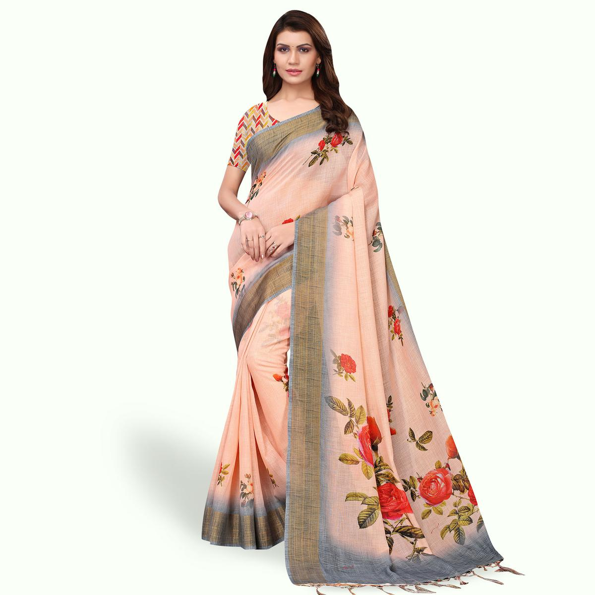 Amazing Pastel Peach Colored Casual Wear Printed Linen Saree
