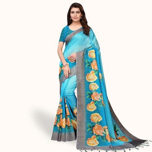 Gorgeous Sky Blue Colored Casual Wear Printed Linen Saree
