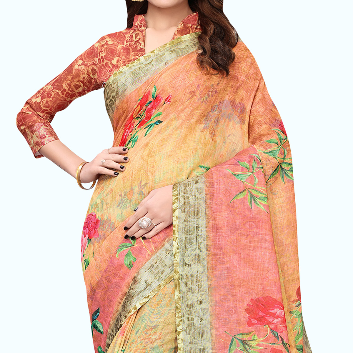 Blissful Yellow - Pink Colored Casual Wear Printed Linen Saree