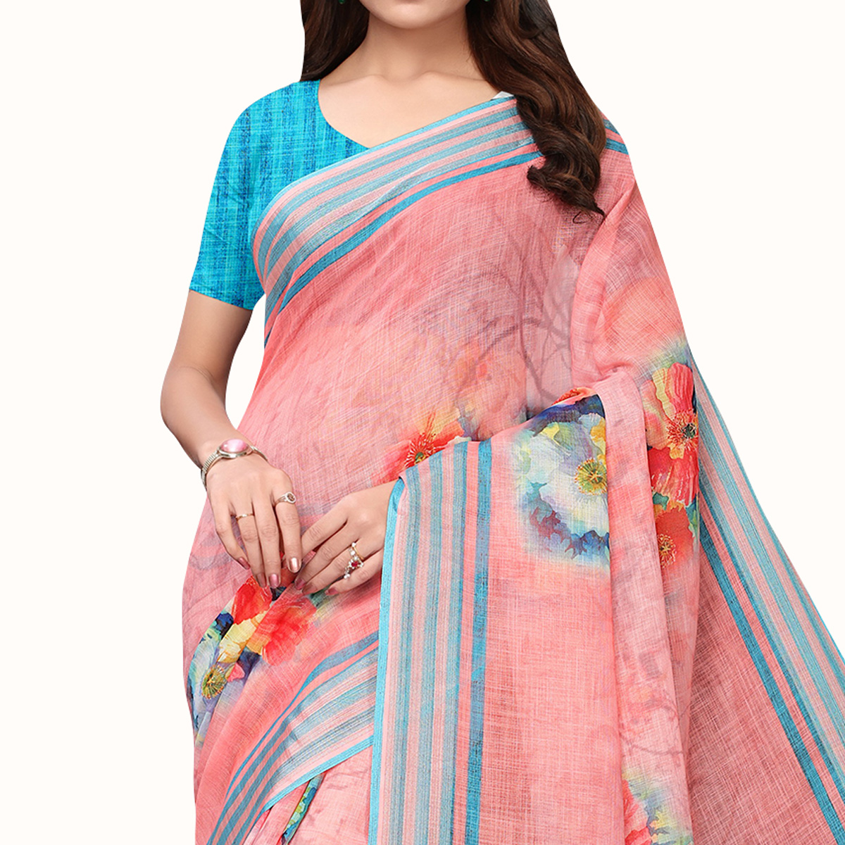 Ideal Pink Colored Casual Wear Printed Linen Saree