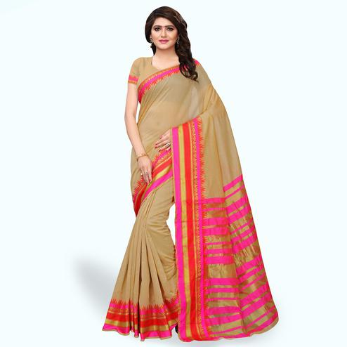 Dazzling Beige Colored Festive Wear Cotton Silk Saree