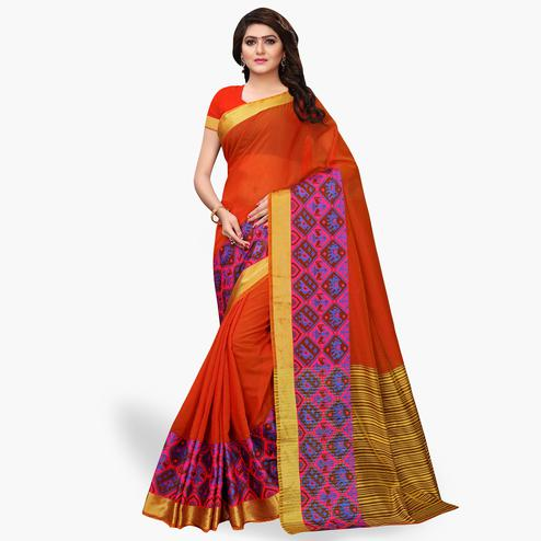 Surpassing Orange Colored Festive Wear Cotton Silk Saree