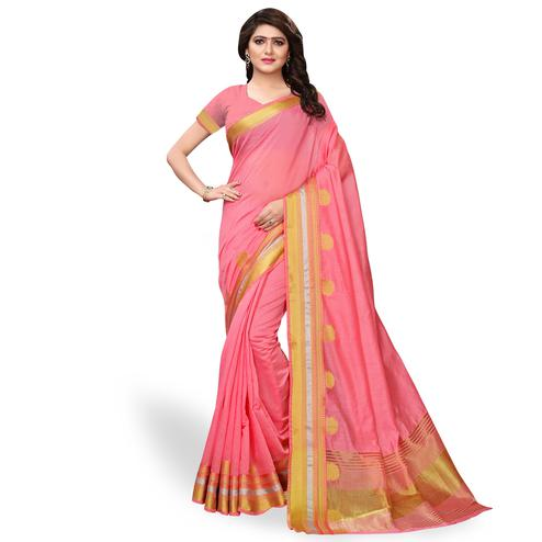 Intricate Pink Colored Festive Wear Cotton Silk Saree