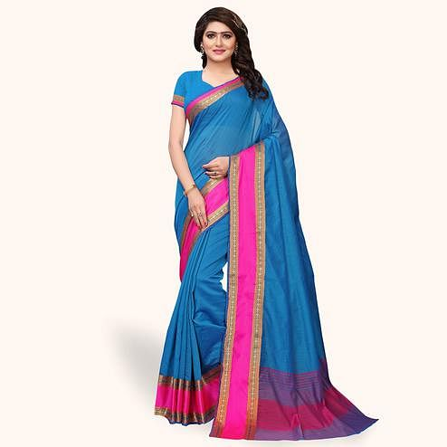 Arresting Blue Colored Festive Wear Cotton Silk Saree