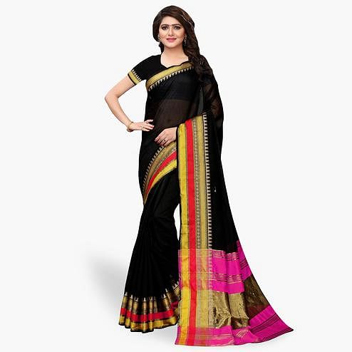 Desirable Black Colored Festive Wear Cotton Silk Saree