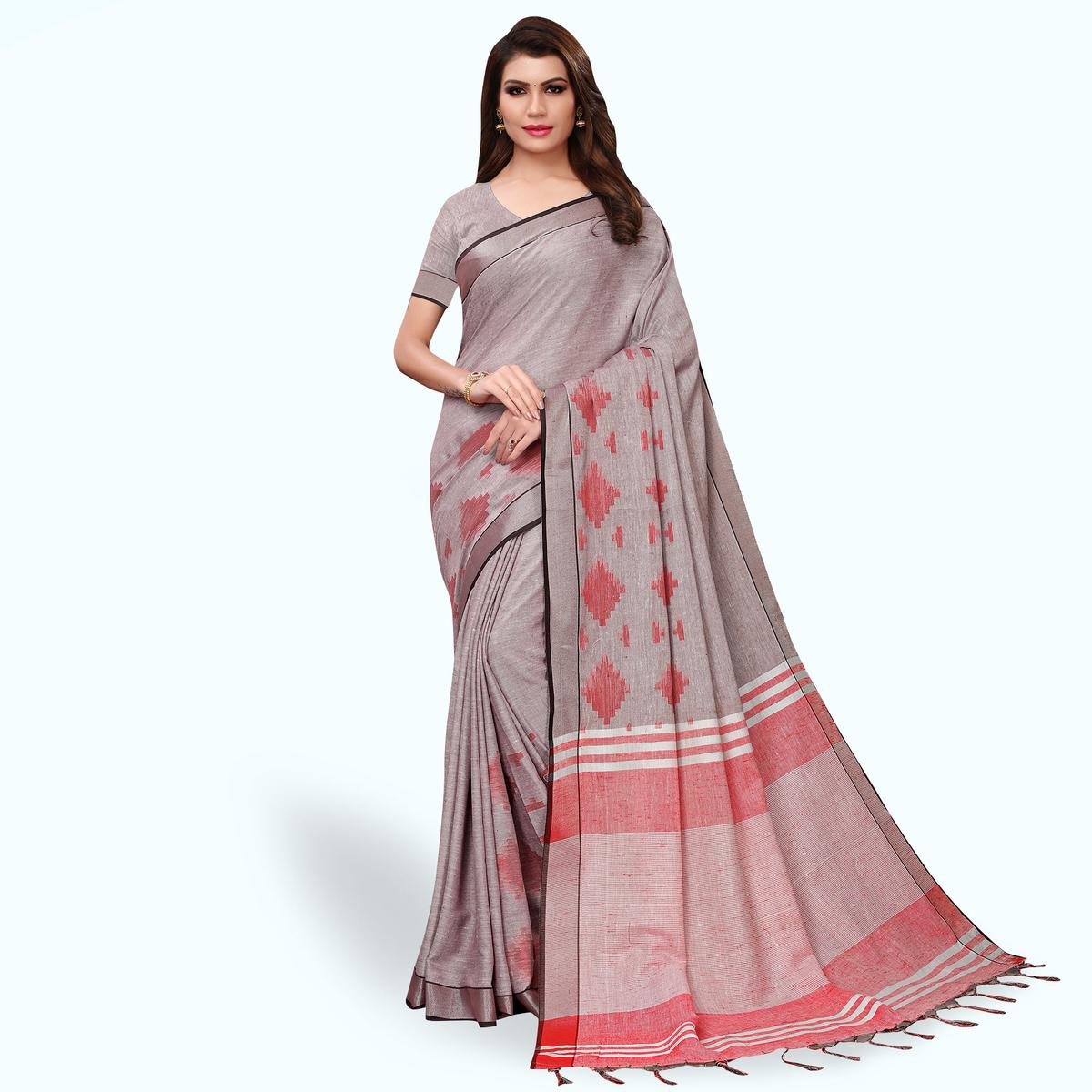 Exotic Gray Colored Festive Wear Linen Saree