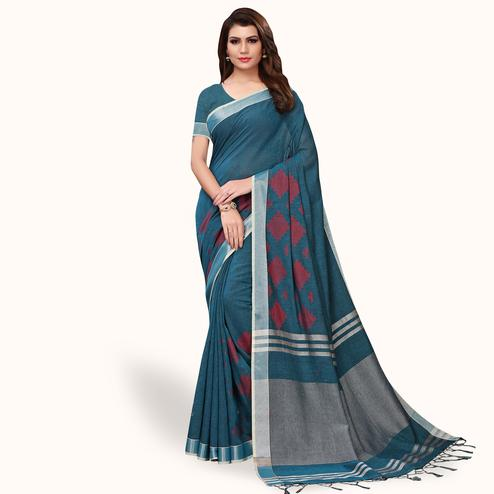 Sophisticated Rama Blue Colored Festive Wear Linen Saree