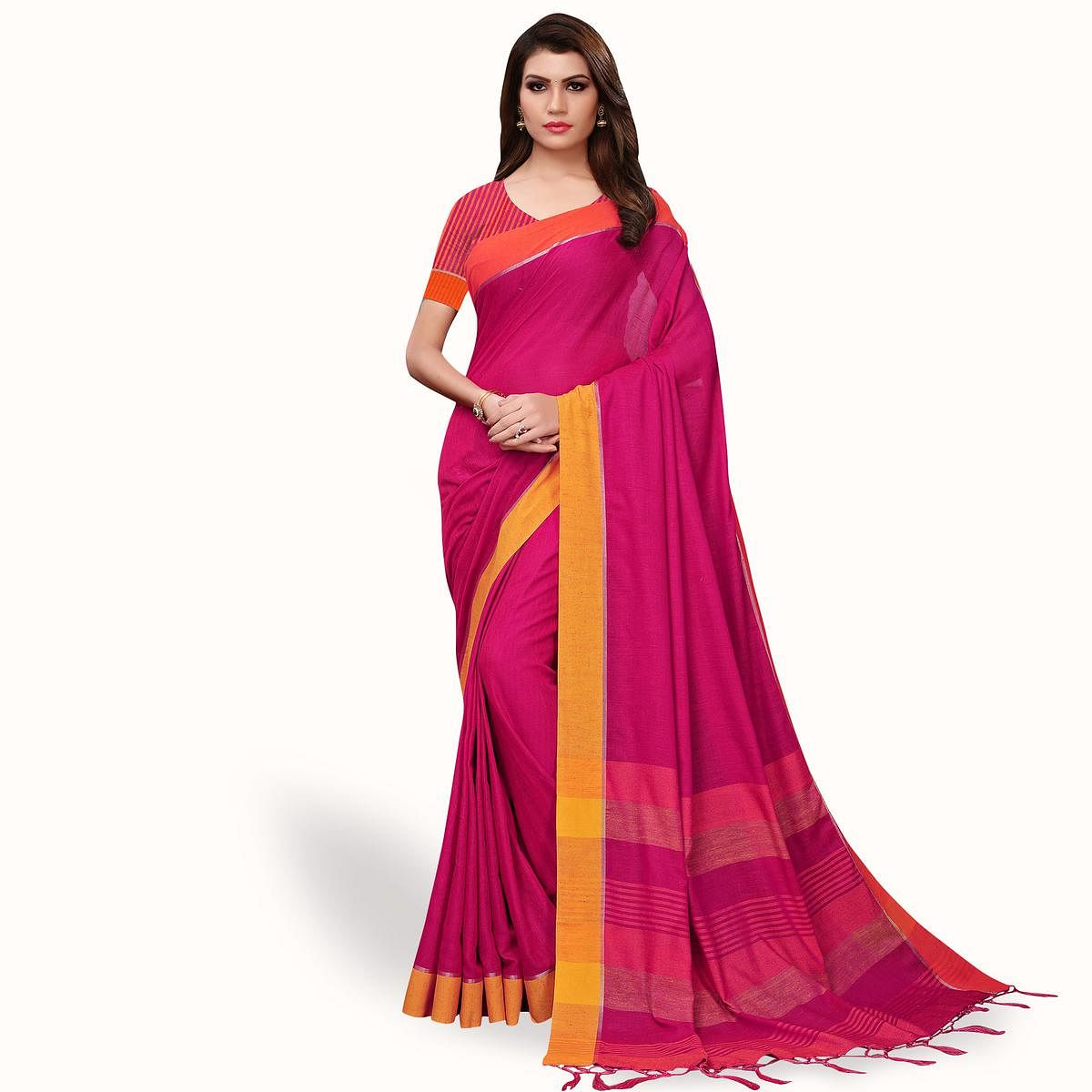 Trendy Pink Colored Festive Wear Linen Saree