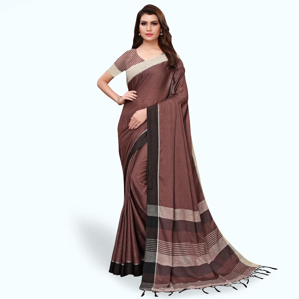 Elegant Brown Colored Festive Wear Linen Saree