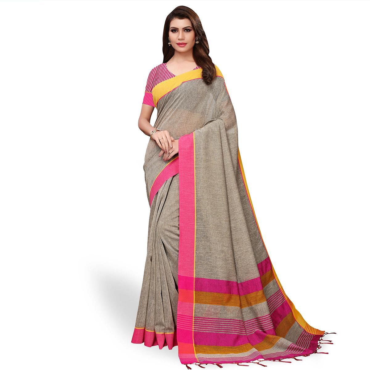 Radiant Gray Colored Festive Wear Linen Saree