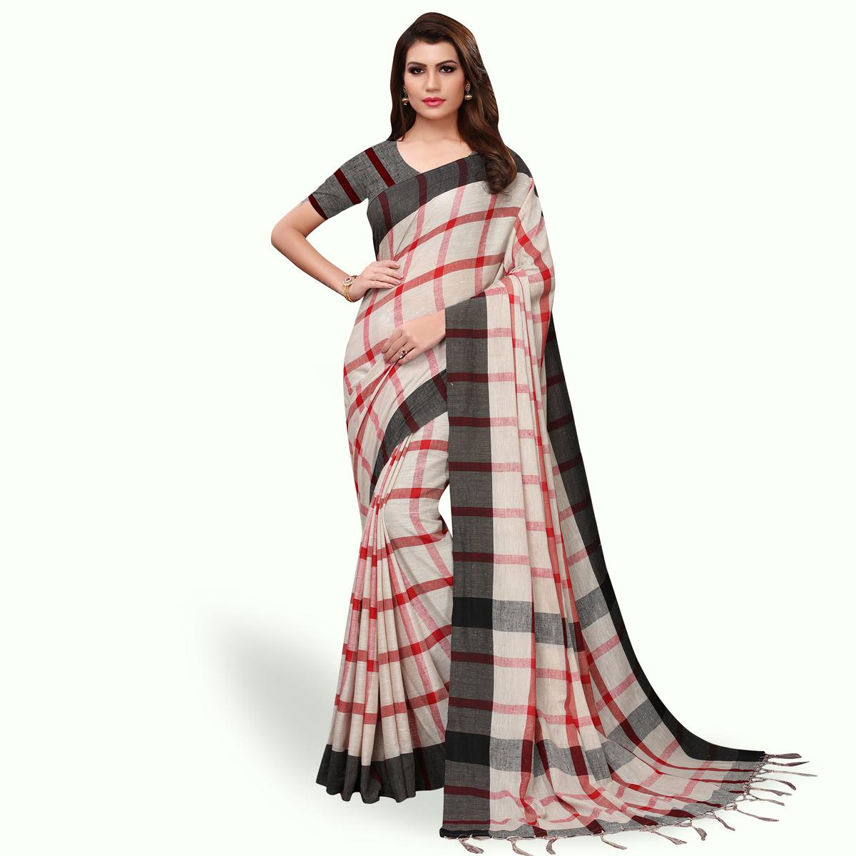 Opulent Off White - Black Colored Festive Wear Linen Saree