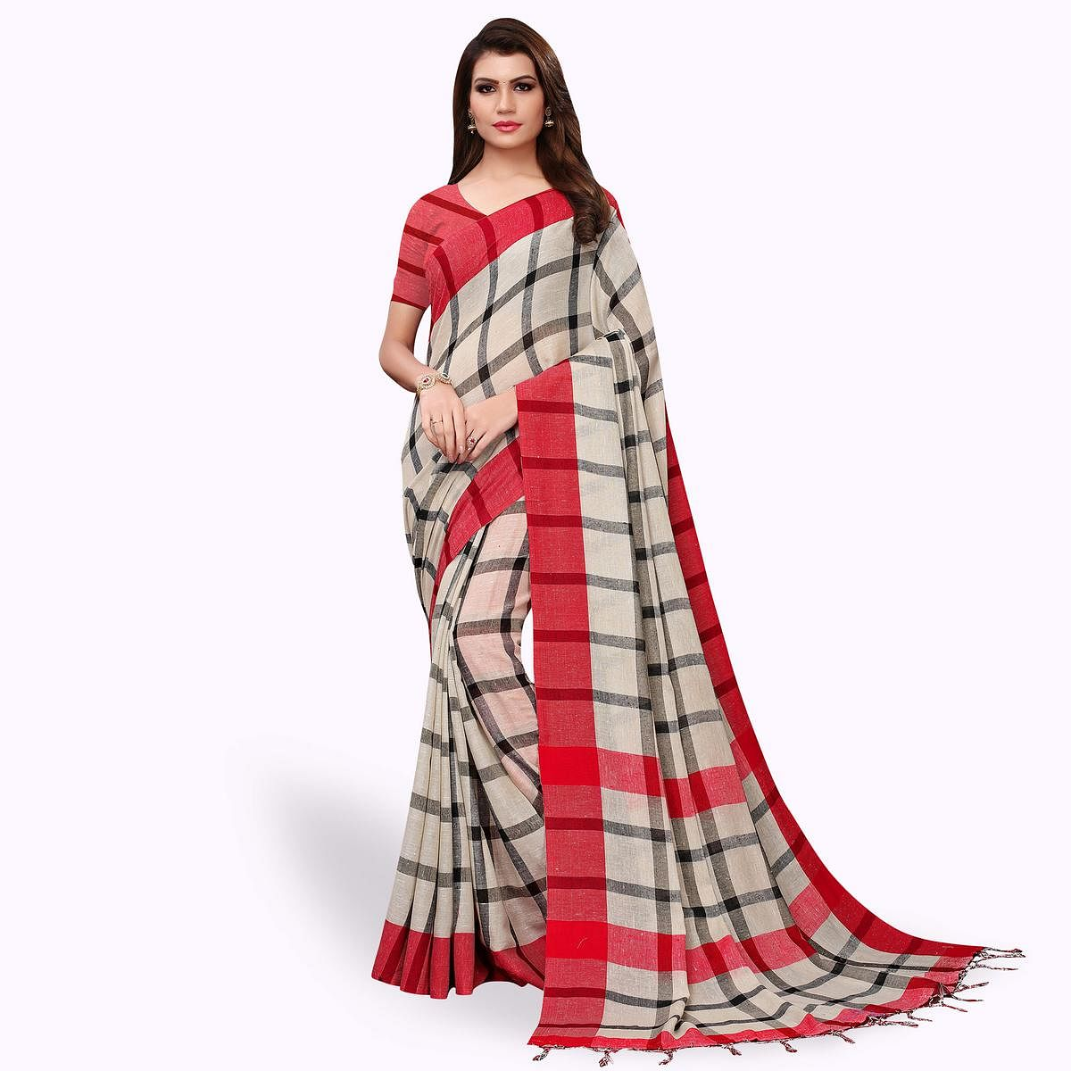 Energetic Off White - Red Colored Festive Wear Linen Saree