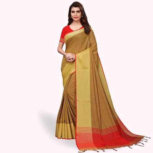 Glowing Chiku Colored Festive Wear Linen Saree