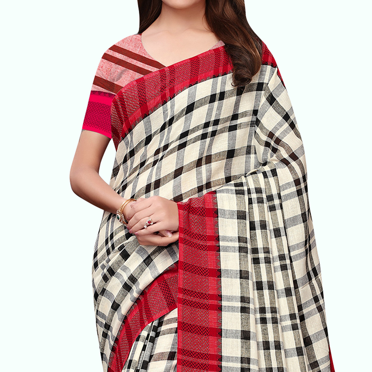 Gleaming Off White - Red Colored Festive Wear Linen Saree