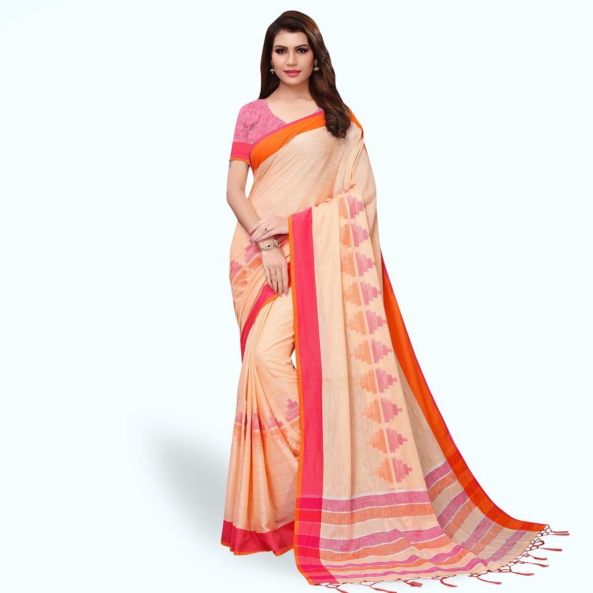 Mesmeric Peach Colored Festive Wear Linen Saree