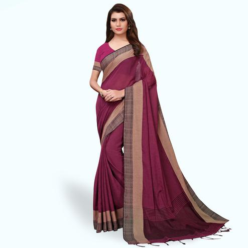 Unique Dark Purple Colored Festive Wear Linen Saree