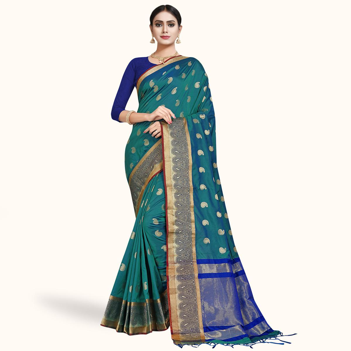 Engrossing Teal Blue Colored Festive Wear Woven Silk Saree
