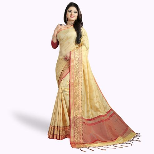 Captivating Beige Colored Festive Wear Woven Silk Saree