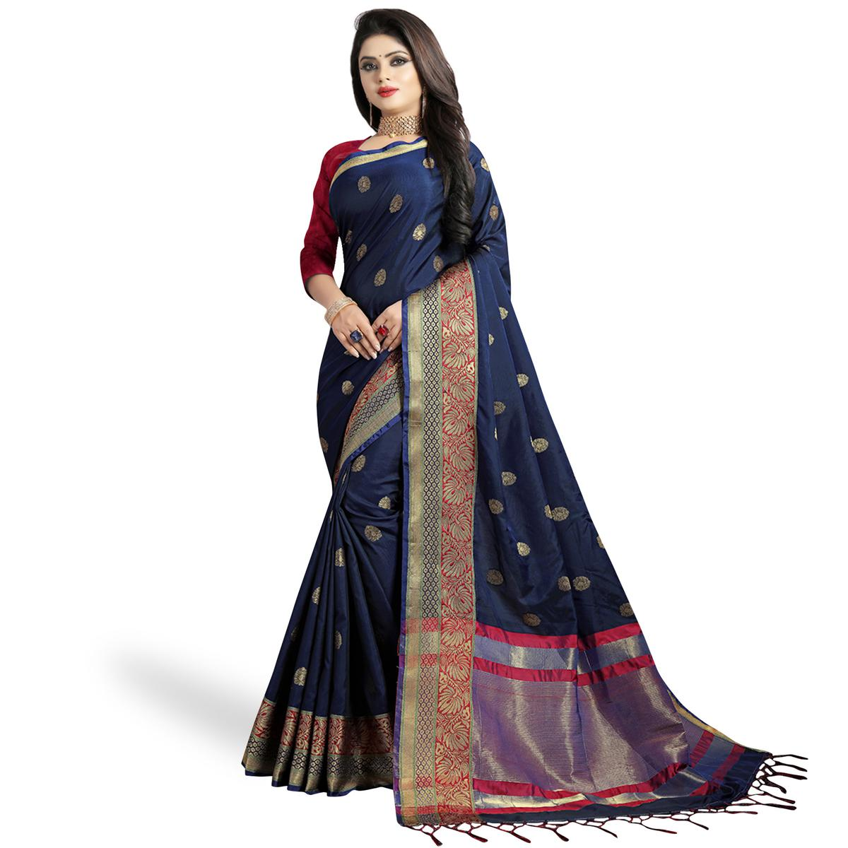Eye-catching Navy Blue Color Festive Wear Woven Silk Saree