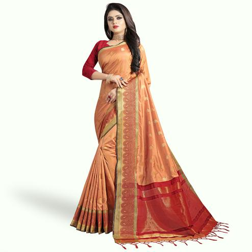 Fantastic Peach Colored Festive Wear Woven Silk Saree
