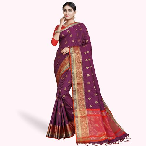 Amazing Purple Colored Festive Wear Woven Silk Saree