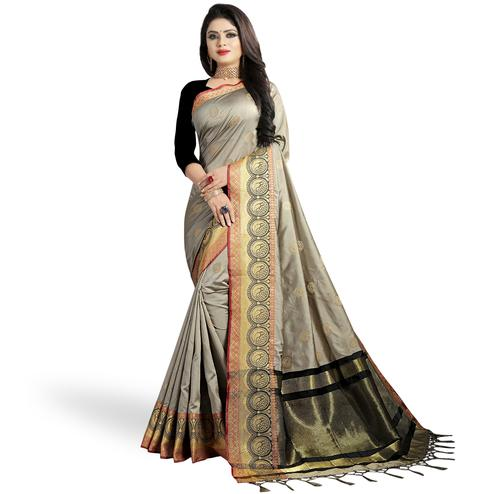 Glowing Gray Colored Festive Wear Woven Silk Saree