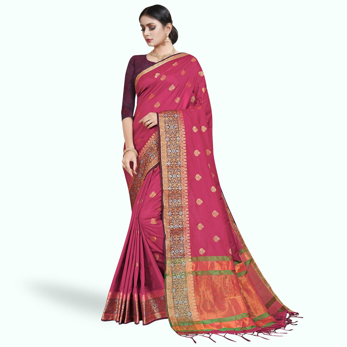 Exceptional Pink Colored Festive Wear Woven Silk Saree