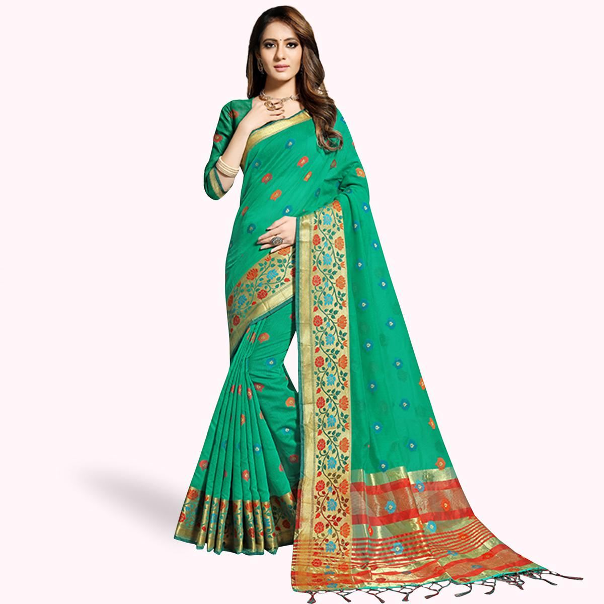 Elegant Green Colored Festive Wear Woven Chanderi Silk Saree