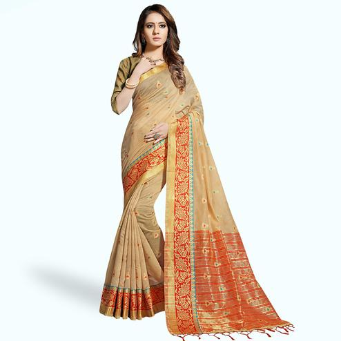 Beautiful Beige Colored Festive Wear Woven Chanderi Silk Saree