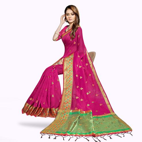 Classy Rani Pink Colored Festive Wear Woven Chanderi Silk Saree