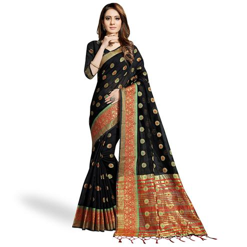 Fantastic Black Colored Festive Wear Woven Chanderi Silk Saree