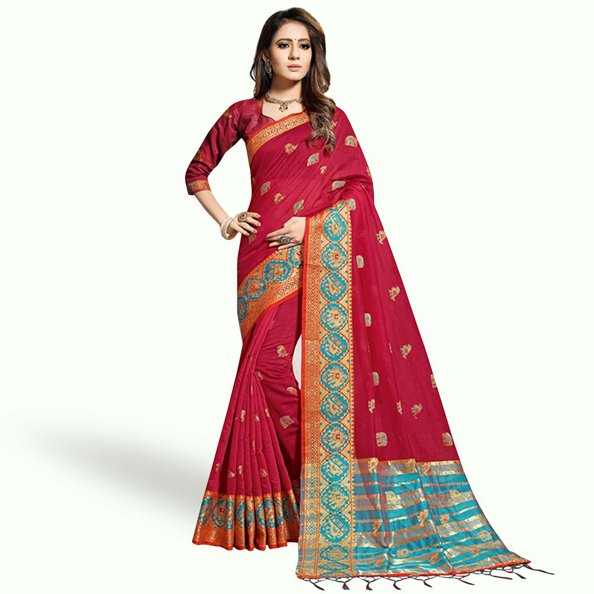 Lovely Red Colored Festive Wear Woven Chanderi Silk Saree